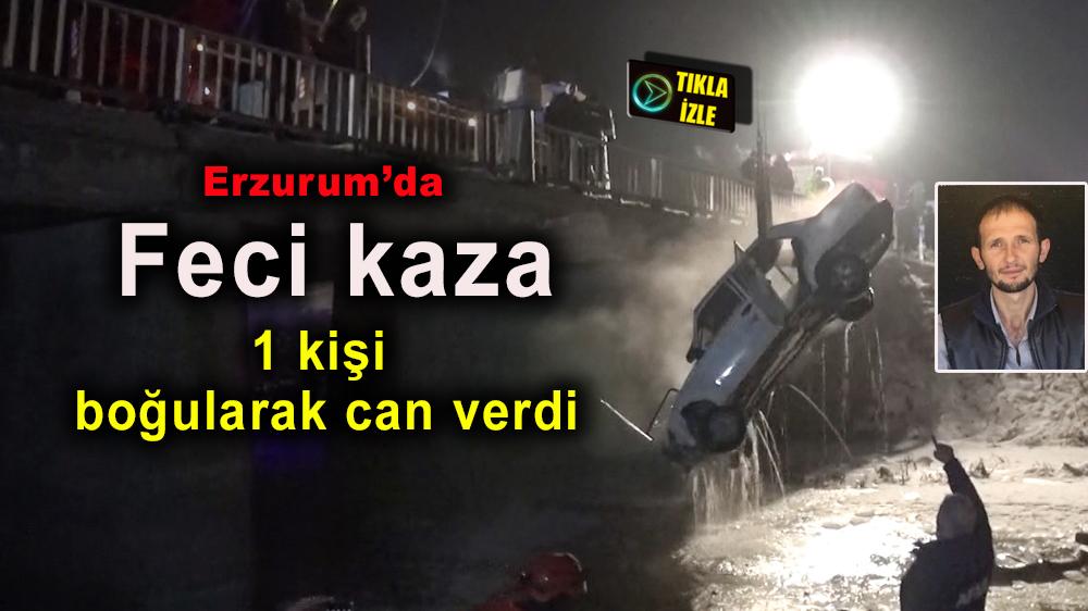 Erzurum'da otomobil buzla kaplı Karasu Nehri'ne uçtu
