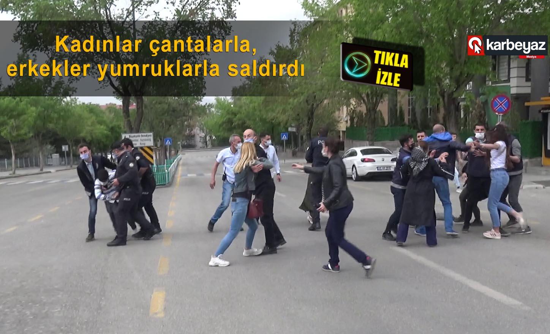 Erzurum'da adliye önünde kadınlı, erkekli kavga...