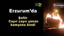 Erzurum'da ot yüklü kamyon alevlere teslim oldu