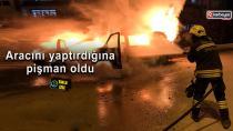 Erzurumda seyir halindeki minibüs alev topuna döndü
